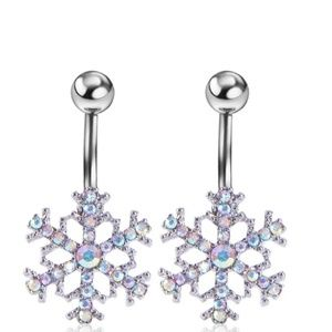 SNOWFLAKE Belly Button Ring Stainless Steel Ring
